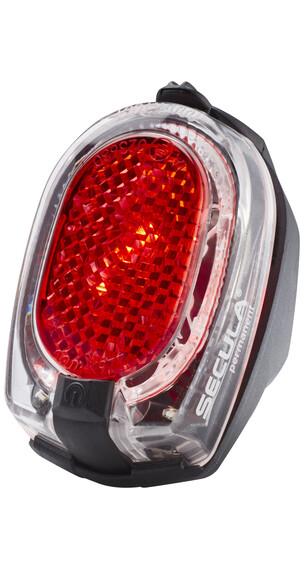 Busch + Müller Secula - Luz a pilas traseras - montaje permanente en guardabarros rojo/transparente